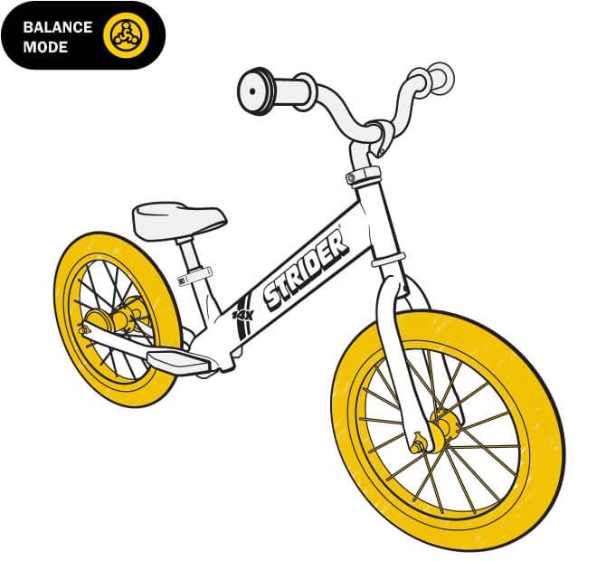 illustration Strider 14x balance bike wheels
